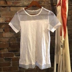 White Tee with Mesh Details